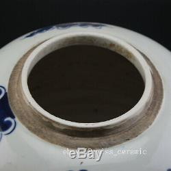 11 China antique Porcelain Qing guangxu blue white painting dragon tea caddy