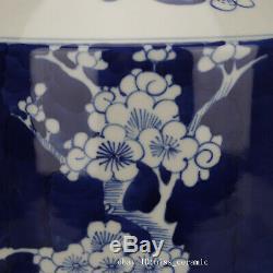11 China antique porcelain Qing guangxu blue white Plum blossom Tea Caddy pot