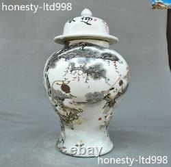 14 Chinese Wucai Porcelain Tong zi Child Playing Game Tanks Pot Crock Tea caddy