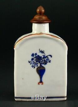 1735-1796 QIANLONG Qing Chinese Fine Porcelain Tea Caddy Blue, Red & Gold 3.9