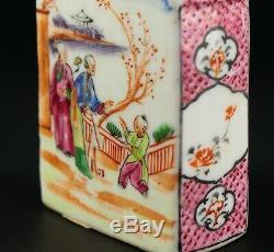 1735-1796 QIANLONG Qing Chinese Fine Porcelain Tea Caddy Figural Polychrome