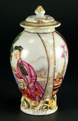 1735-1796 QIANLONG Qing Chinese Fine Porcelain Tea Caddy Figural Scene 5.3