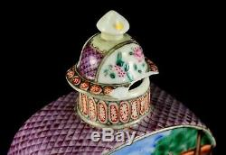 1735-1796 QIANLONG Qing Chinese Fine Porcelain Tea Caddy Wise Men Polychrome