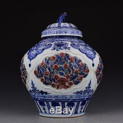 18 China antique Porcelain Yuan blue white Underglaze red Storage tank pot