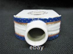18th Century Chinese Export Porcelain Tea Caddy With Original Lid Cobalt, Gilt