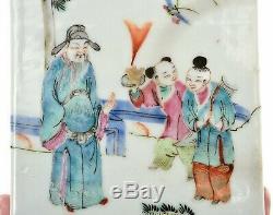 1900's Chinese Famille Rose Porcelain Tea Caddy Scholar Sage Figure Figurine