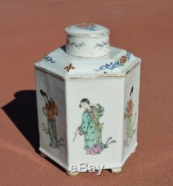 1930's Chinese Famille Rose Porcelain Tea Caddy Lady Figurine Figure Mk