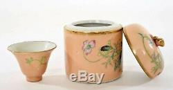 1930's Chinese Gilt Peach Famille Rose Porcelain Tea Caddy Box with AS IS Cup