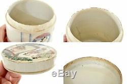 19C Chinese Famille Rose Porcelain Tea Caddy Box Figure Figurine Lady