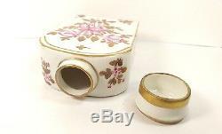 19th Antique Tea Caddy Floral Bottle & Cover Porcelain Paris Edme Samson France