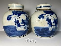 2 Chinese Blue & White Porcelain Kids Character Tea Caddy withLids 4 3/4 H