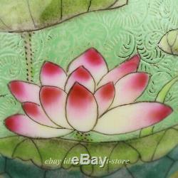 3.5 China Porcelain Green Glaze Famille Rose Lotus Flower Leaf Tea Canister Pot