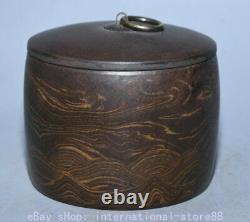 4.6 Marked Old Chinese Yixing Zisha Pottery Stripe Caddy Tea Canister Tank Jar
