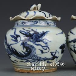 4.8 China Antique old porcelain Yuan Qinghua Dragon pattern Tea caddy A pair