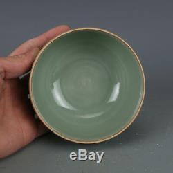 4 China old antique Porcelain Song longquan Kiln Plum green glaze Tea Caddy