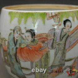 4 Chinese antique Porcelain Qing Dynasty famille rose Beauty man Tea Caddy pot