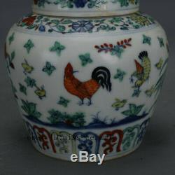4 Ming chenghua China antique Porcelain blue white doucai Hen Chick Tea Caddy
