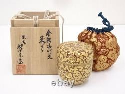 4623010 Japanese Tea Ceremony / Lacquered Porcelain Kutani Tea Caddy / Natsume