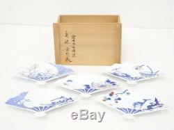 4638298 Japanese Porcelain Arita Ware Serving Plate Set Foldin Fan By Hitachi T