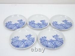 4805019 Antique Japanese Porcelain Plate Set Of 5 Meiji Era Sakura