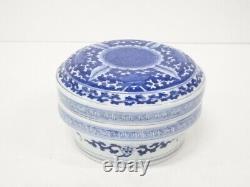 4810931 Antique Japanese Imari / Edo Era / Lidded Bowl / Blue & White Porcelain