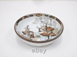 4953497 Antique Japanese Kutani Porcelain Bowl / Bushi Samurai