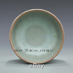 5 Song guan kiln China antique Porcelain sky cyan glaze lotus petal Tea Caddy