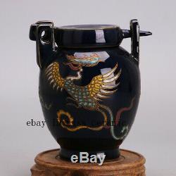 5 Yuan China antique Porcelain blue glaze Multicolored kylin Phoenix Tea Caddy
