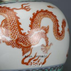 5 kangxi mark China antique Porcelain Vitriol red Dragon Phoenix cover jar pot