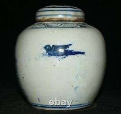 6.4 Old Chinese Blue White Porcelain Flower Bird Caddy Tea Jar Pot
