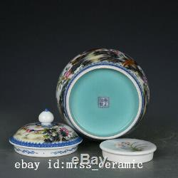 6 China old Porcelain yongzheng marked colour enamels flowers bird tea caddy