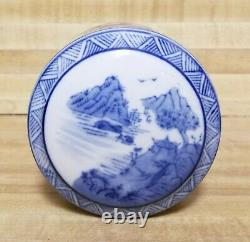 8.5 Fine Antique Chinese Blue and White Porcelain Tea Caddy with Cover Exc Cond