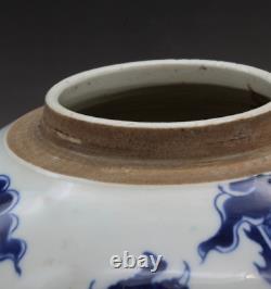 8.7 China Jingdezhen Blue and White Porcelain Auspicious Dragon Cover Tea Caddy