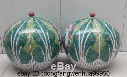 9 China Pottery WuCai Porcelain Cabbage Tea Caddy Crock Jar Pot Bottle Vase Pair