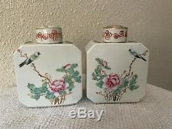 A Pair of Antique Chinese Porcelain Famille Rose Decorated Tea Caddies