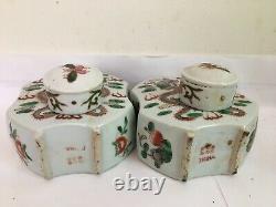A pair of republic era CHINESE Porcelain TEA CADDY double dragon decoration