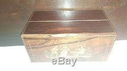 ANTIQUE English French BOX 19th C Inlaid TEA CADDY Fitted PORCELAIN Bottles