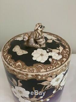 ANTIQUE JAPANESE SATSUMA Jar Tea Caddy Humidor Porcelain