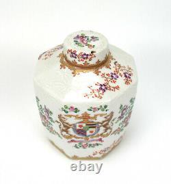 Alte Porzellan Dose Teedose Handbemalt Wappen Blumendekor Porcelain Tea Caddy