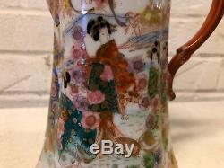 Ant Japanese Kutani Porcelain Painted Gold Moriage Women Figural Scene Teapot