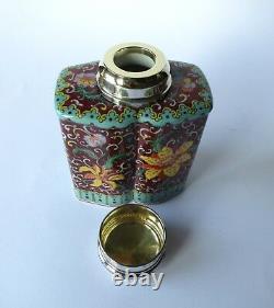 Antik Grosse Teedose Porzellan Silber Deckel Porcelain Tea Caddy Antique