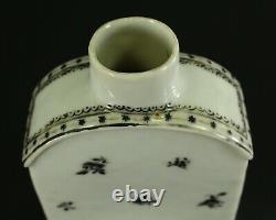 = Antique 1735-1796 QIANLONG Qing Chinese Fine Porcelain Tea Caddy Black Flowers