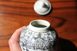 Antique 18 century Chinese export tea caddy Grisaille Sepia porcelain
