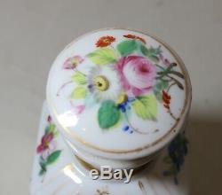 Antique 1800's hand painted French floral gilt porcelain tea caddy lidded jar