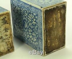 ^Antique 1800s Japanese Set of 2 Blue & White Porcelain Tea Caddy Bottles Signed