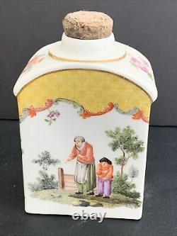 Antique 18th Century Meissen Porcelain Tea Caddy 4.25