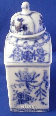 Antique 18thC German Porcelain Blue Onion Tea Caddy Jar Porzellan Teedose