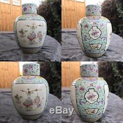 Antique 19th C Chinese Porcelain Hand Painted Family Rose Palette Tea Caddy Box
