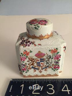 Antique 19th Century French Porcelain Decorative ARMORIAL Tea Caddy Edme Samson