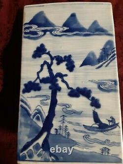 Antique 19th Century Qing Dynasty Canton Porcelain Blue And White Tea Cannister